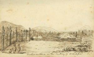 Whakawhitirā church in the Waiapu valley (cf. 1830)